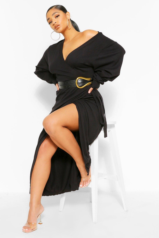 Plus Knitted Wrap Tie Waist Midi Dress 4
