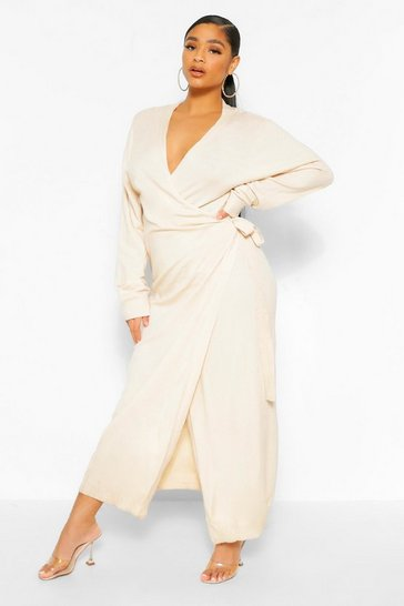 Stone beige Plus Knitted Wrap Tie Waist Midi Dress