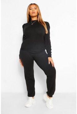 Black Plus Knitted Puff Sleeve Lounge Set