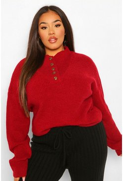 Berry Plus Button Detail Oversized Jumper