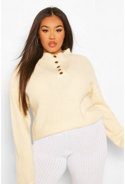 Ecru white Plus Button Detail Oversized Jumper