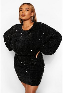 Black Plus Oversized Blouson Sleeve Sequin Mini Dress