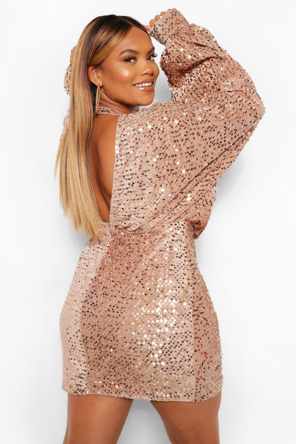 Plus Oversized Blouson Sleeve Sequin Mini Dress 19