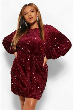 Berry red Plus Oversized Blouson Sleeve Mini Dress In Sequin