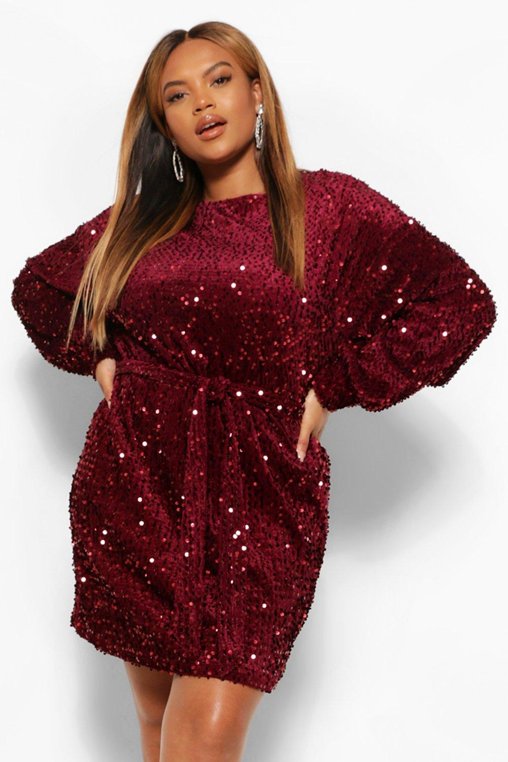 Plus Oversized Blouson Sleeve Mini Dress In Sequin 18