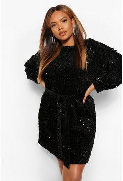 Black Plus Oversized Blouson Sleeve Mini Dress In Sequin