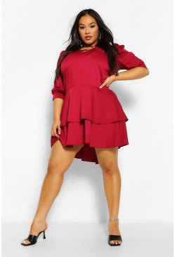 Berry red Plus Oversized Ruffle Smock Dress