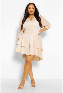 Stone beige Plus Oversized Ruffle Smock Dress