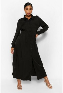 Black Plus Oversized Maxi Shirt Dress