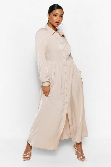 Stone beige Plus Oversized Maxi Shirt Dress