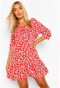 Berry red Plus Ruched Bust Floral Skater Dress