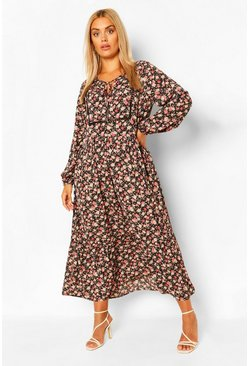Black Plus Floral Smock Boho Maxi Dress
