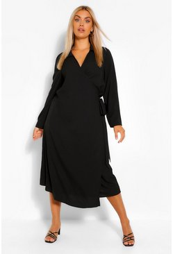 Black Plus Wrap Midi Belted Shirt Dress