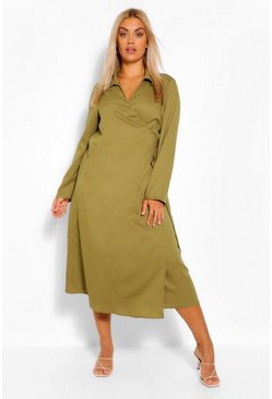 Khaki Plus Wrap Midi Belted Shirt Dress