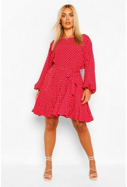Berry red Plus Polka Dot Blouson Sleeve Skater Dress