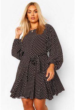 Black Plus Polka Dot Blouson Sleeve Skater Dress