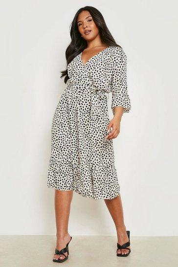 Ivory white Plus Ruffle Hem Spotty Wrap Dress