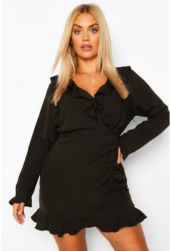 Black Plus Ruffle Hem Wrap Dress