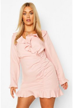 Rose pink Plus Ruffle Hem Wrap Dress