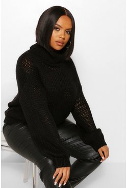 Black Plus Oversized Textured Roll Neck  Jumper