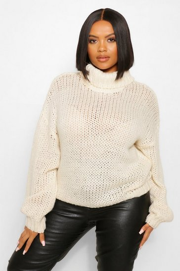 Cream white Plus Oversized Textured Roll Neck  Jumper