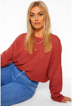 Berry red Plus Oversized Bobble Sleeve Knitted Jumper