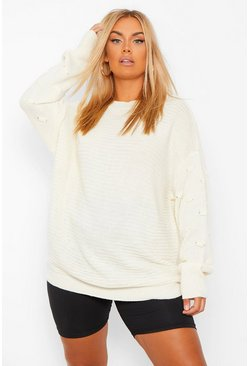 Black Plus Oversized Bobble Sleeve Knitted Jumper