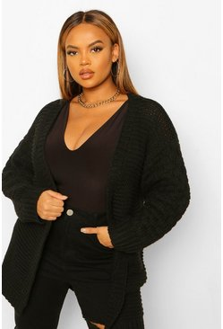 Black Plus Knitted Bobble Blouson Sleeve Cardigan