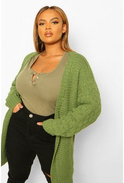 Khaki Plus Knitted Bobble Blouson Sleeve Cardigan