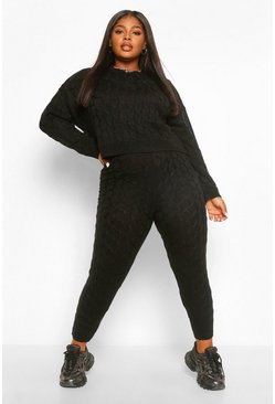 Black Plus Knitted Cable Slash Neck Lounge Set
