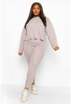 Grey Plus Knitted Cable Slash Neck Lounge Set