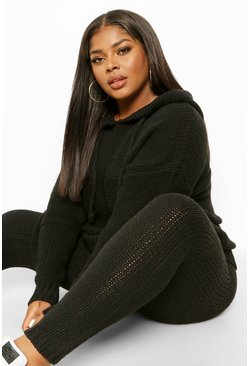 Black Plus Chunky Knitted Hoodie & Jogger Lounge Set