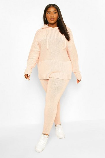 Blush pink Plus Chunky Knitted Hoodie & Jogger Lounge Set