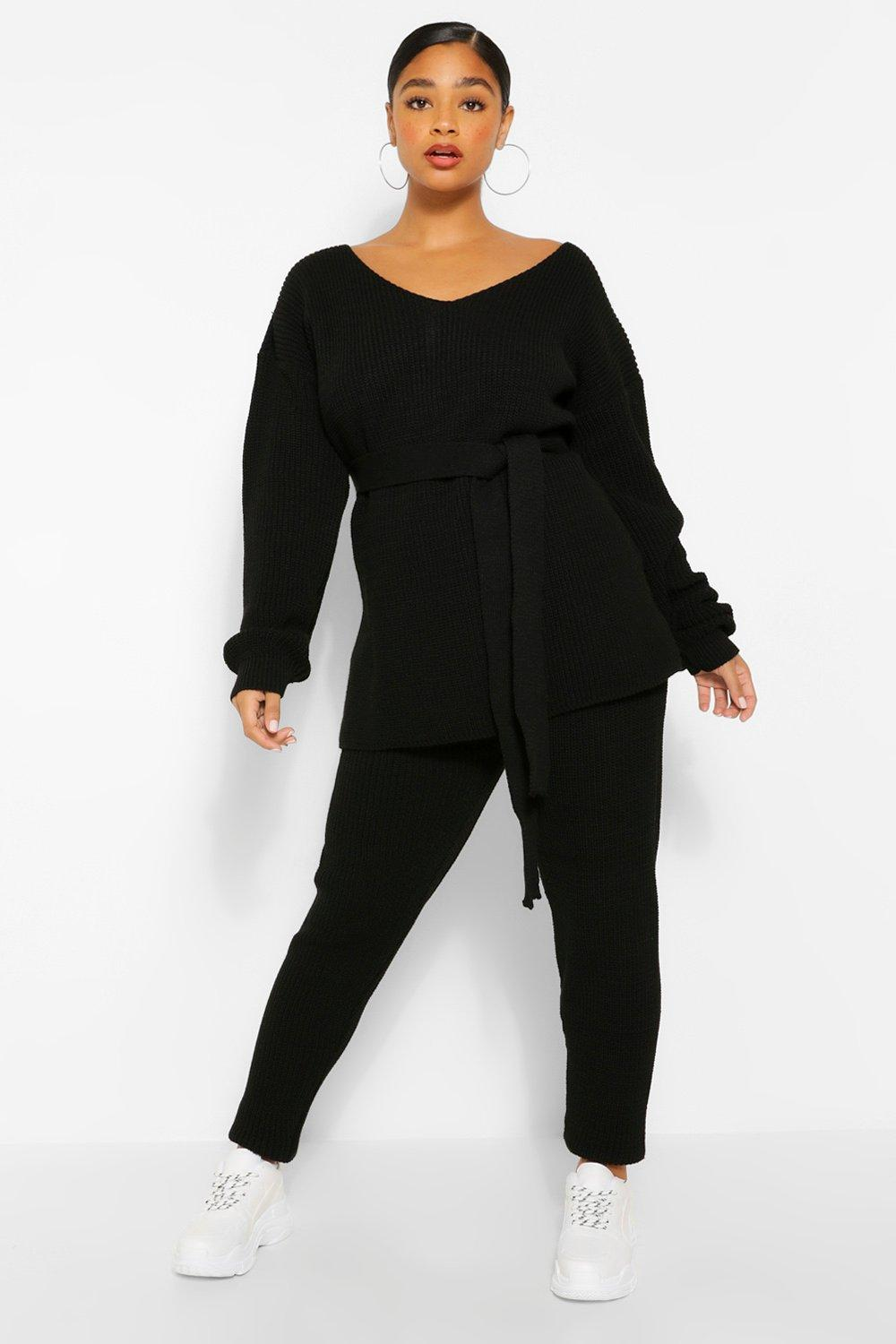 Plus Side Split Knit Jumper & Jogger Set 7