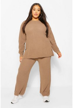 Mocha beige Plus Knitted Cullote Co-ord Lounge Set