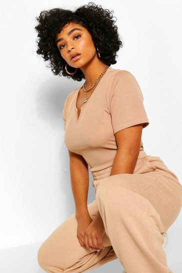 Stone Plus Rib Knit Notch Neck Bodysuit