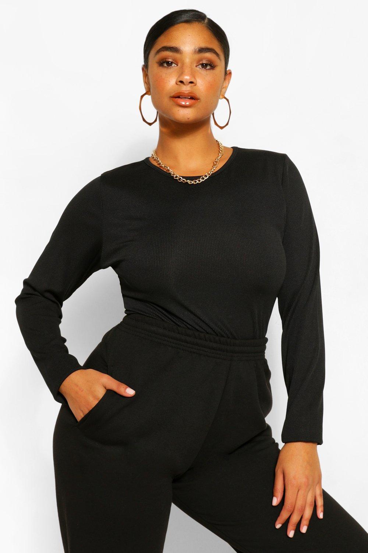Plus Rib Knit Long Sleeve Knitted Bodysuit 4