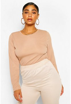 Toffee beige Plus Rib Knit Long Sleeve Knitted Bodysuit