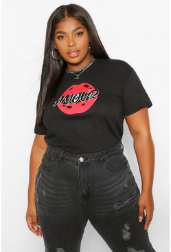 Black Plus Red Lips T-Shirt