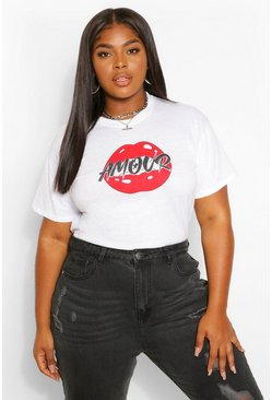 White Plus Red Lips T-Shirt