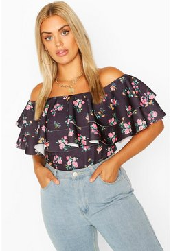 Blush Plus Ditsy Floral Off The Shoulder Top