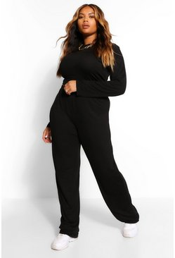 Black Plus Long Sleeve Crop And Wide Leg Trouser Set