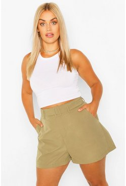 Khaki Plus Woven Self Fabric Belted Tailored Short