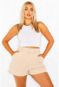 Nude Plus Woven Self Fabric Belted Tailored Short