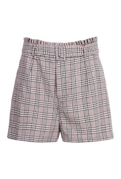 Grey Plus Woven Check High Waisted Short
