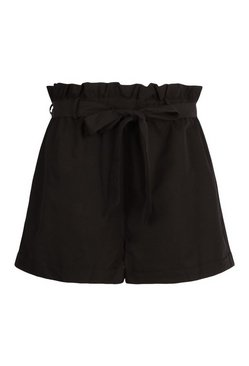 Black Plus Woven Paperbag Turn Up Hem Tailored Short