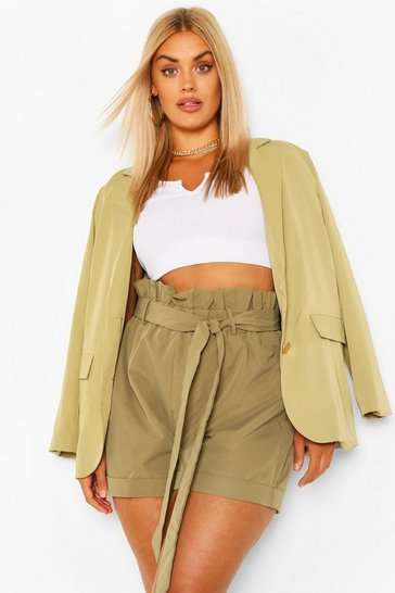 Khaki Plus Woven Paperbag Turn Up Hem Tailored Short