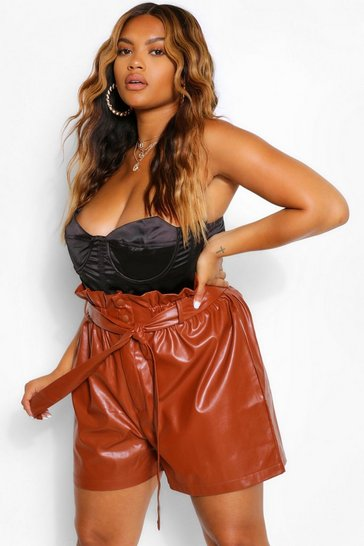 Tan brown Plus Leather Paperbag Short