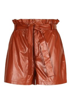 Tan Plus Leather Paperbag Short