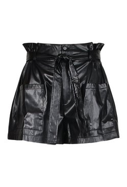 Black Plus PU Pocket Belted Tie Short